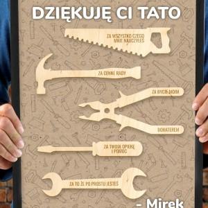 obraz z narzędziami i nadrukiem na prezent dla taty
