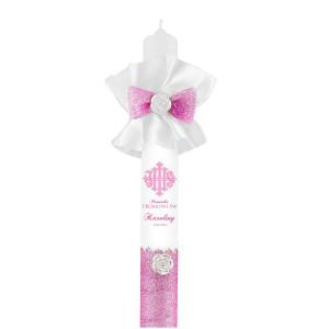 różowa świeca komunijna z nadrukiem dla dziewczynki