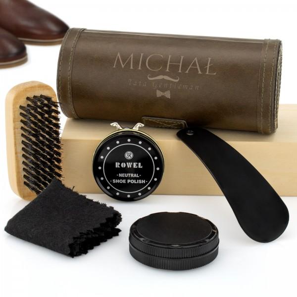 zestaw do czyszczeniu butów z grawerem imienia i napisu tata gentleman