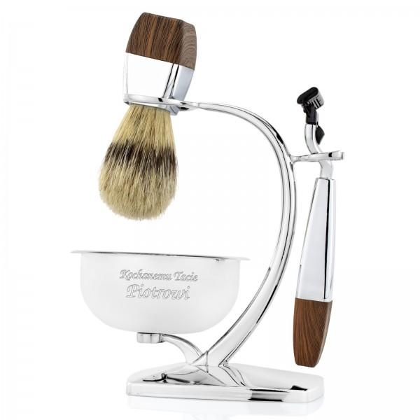 elegancki zestaw do golenia z grawerem na prezent dla taty