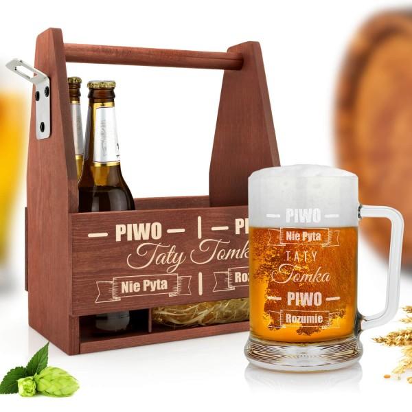 skrzynka na piwo i kufel z grawerem