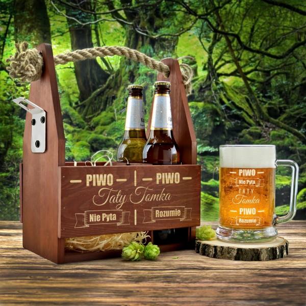 drewniana skrzynka z grawerem i kufel  piwo z grawerem imienia