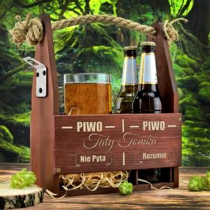 kufel z grawerem i skrzynka na piwo z dedykacją na prezent dla taty