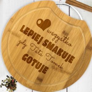 drewniana deska kuchenna  z grawerem na prezent dla taty