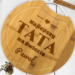 drewniana deska do krojenia z grawerem imienia na prezent dla taty