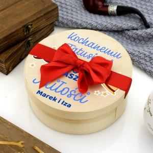okragłe pudełko z łuby na prezent dla taty