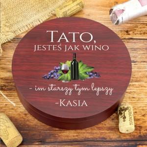 akcesoria do wina w eleganckim drewnianym pudełku na prezent dla taty