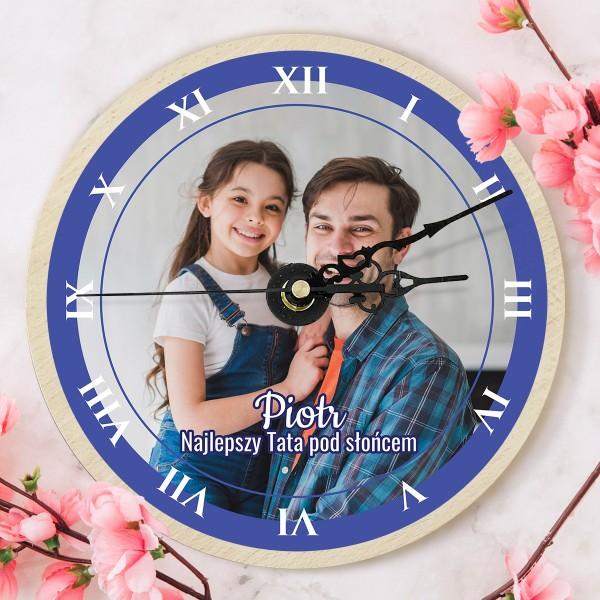 drewniany zegar dla taty z nadrukiem zdjecia