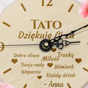 grawerowany zegar dla taty na prezent