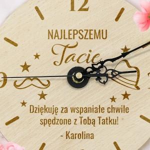 zegar drewniany z grawerem dedykacji dla taty