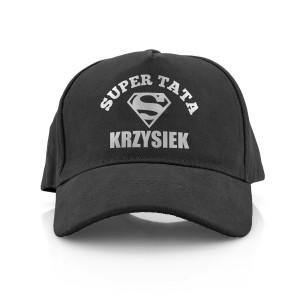 czapka z daszkiem z nadrukiem imienia i napisem super tata