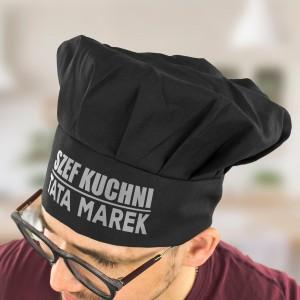czapka kucharza czarna z nadrukiem