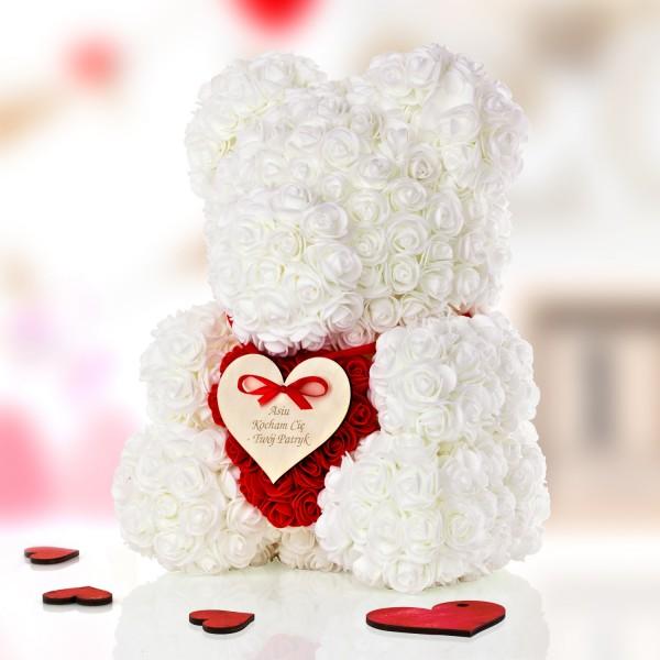miś z róż na prezent