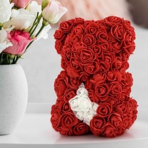 miś z róż z dedykacją na prezent
