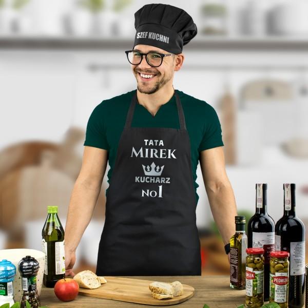 czarny fartuch kuchenny z nadrukiem i czapka kucharska