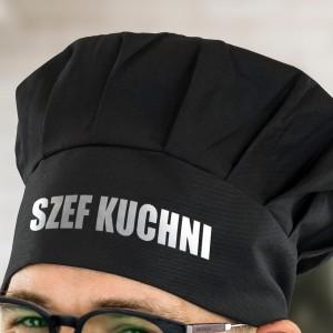 czapka kucharza czarna z napisem szef kuchni