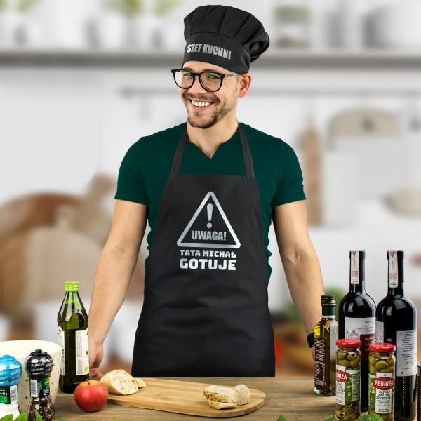 komplet fartuch kuchenny męski i czapka kucharska