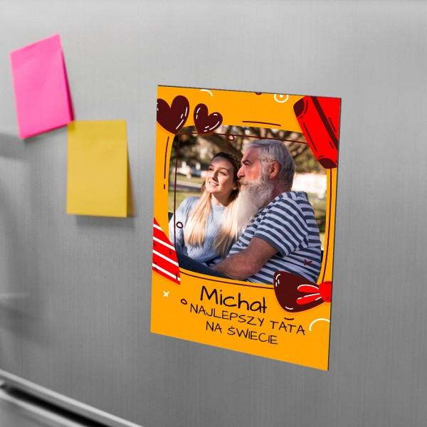 magnes ze zdjęciem i nadrukiem na prezent dla taty