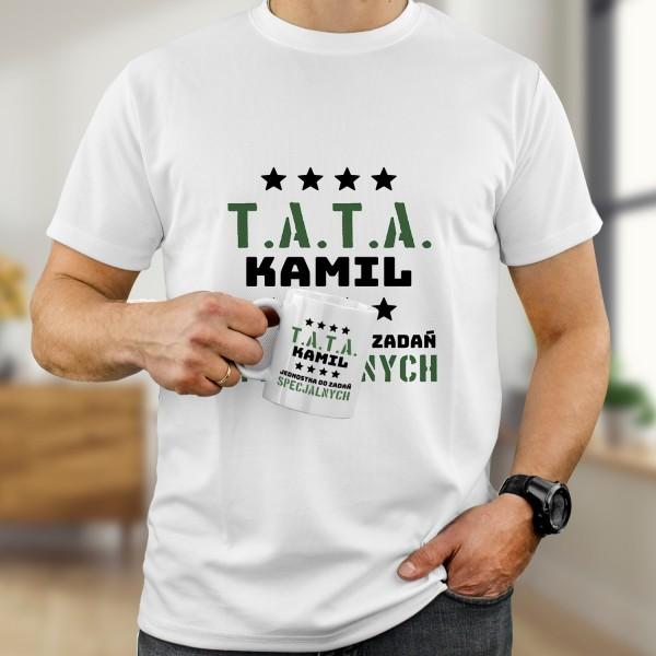 zestaw koszulka i kubek z nadrukiem imienia dla taty