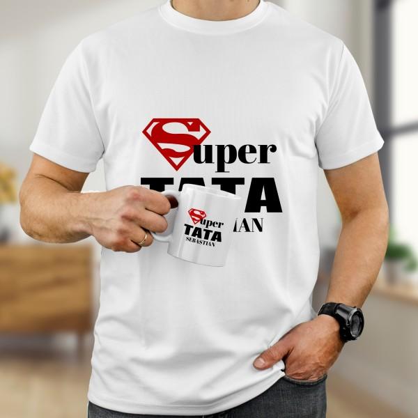 kubek i koszulka z imieniem i napisem super tata