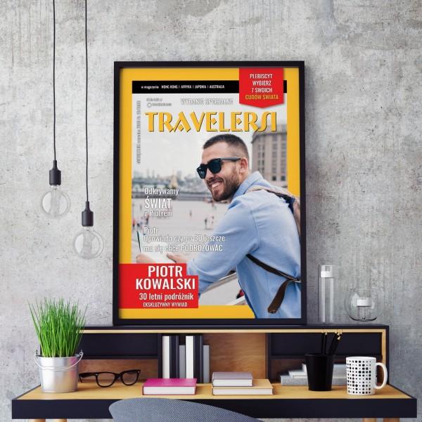 Okładka z magazynu z przesłanym zdjęciem na prezent dla podróżnika