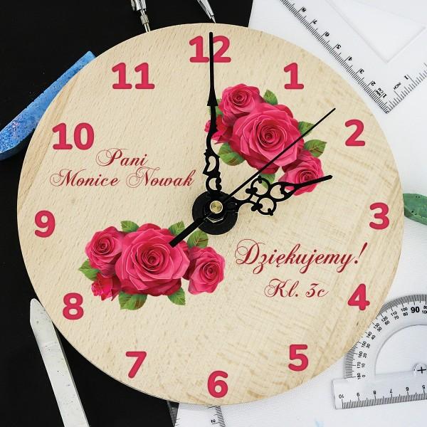 drewniany zegar na podziękowania dla nauczyciela