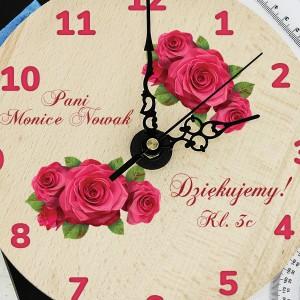 zegar drewniany z nadrukiem dla nauczycielki