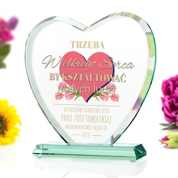 statuetka serce szklane z nadrukiem dla nauczycielki
