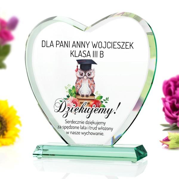 szklana statuetka na prezent dla wychowawczyni