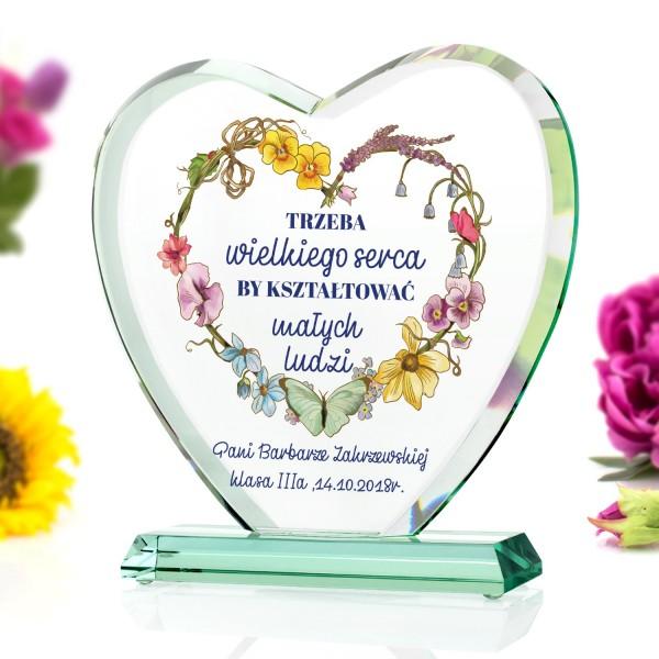 statuetka serce szklane dla nauczycielki z nadrukiem dedykacji