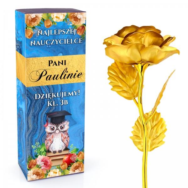 złota róża na prezent dla nauczycielki