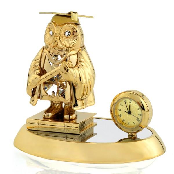 Swarovski Sowa na książce z zegarem na prezent dla nauczyciela
