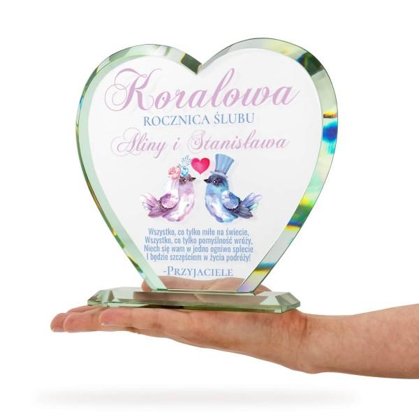 szklane serce z nadrukiem jako prezent na 35 rocznicę ślubu