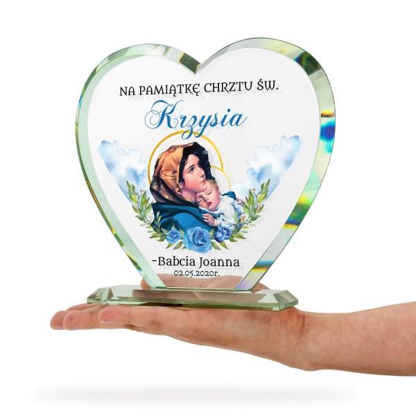 kryształowa statuetka serce z nadrukiem