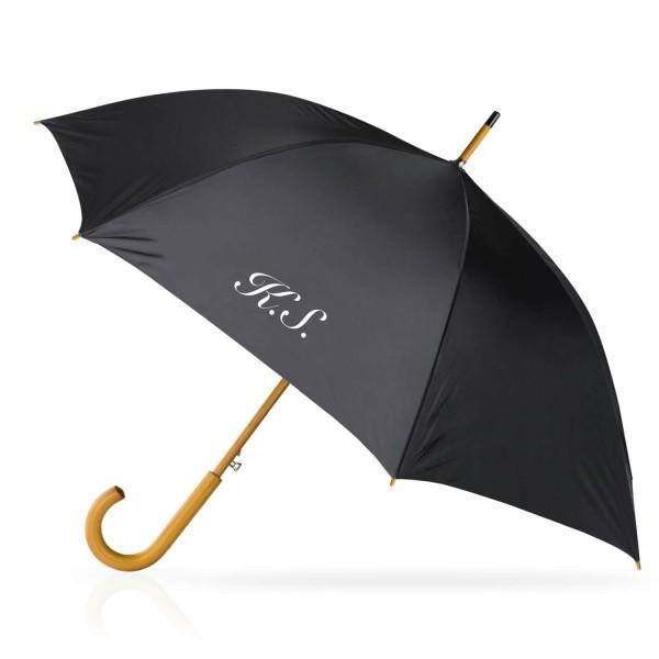 czarny parasol z nadrukiem