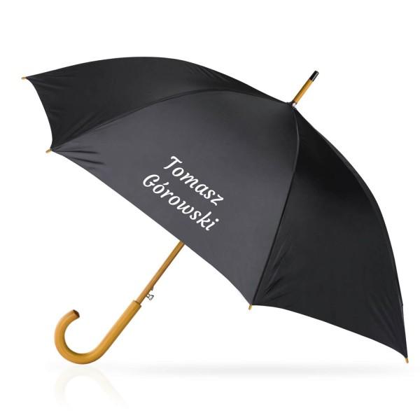 czarny parasol z nadrukiem imienia i nazwiska