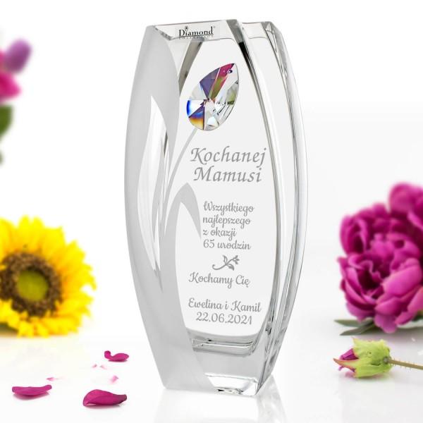elegancki wazon z personalizacja z kamieniem Svarowski