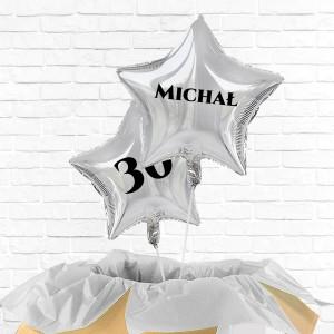 balony gwiazdy srebrne na 30 urodziny z personalizacją