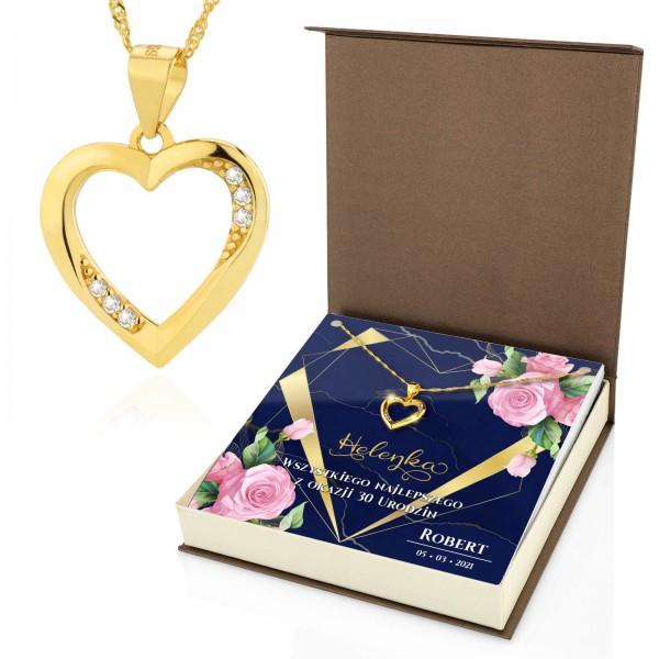 złoty naszyjnik serce z cyrkoniami dla niej na prezent