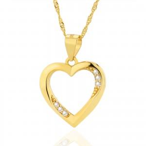 pozłacana srebrna zawieszka serce na łańcuszku