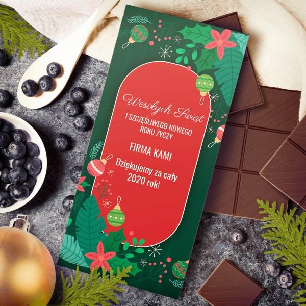 personalizowana czekolada gorzka z życzeniami dla pracownika na święta