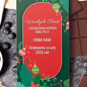 świąteczna czekolada z nadrukiem z życzeniami