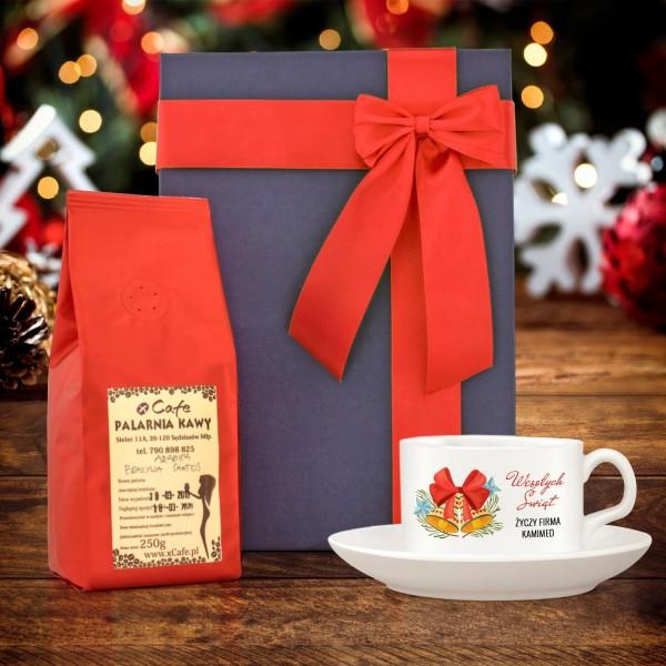 zestaw prezentowy dla pracownika na święta filiżanka z nadrukiem i kawa