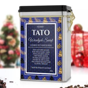 personalizowana puszka na kawę na prezent świąteczny