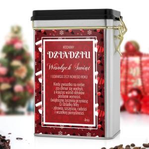 personalizowana puszka na kawę z nadrukiem dla dziadka