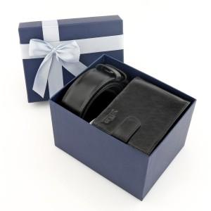 zestaw pasek i portfel w pudełku prezentowym dla taty
