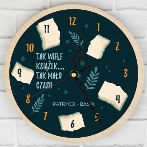zegar ścienny z nadrukiem dla mola książkowego