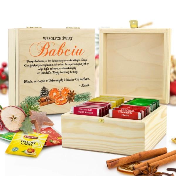 zestaw herbat w skrzynce z nadrukiem dla babci na święta