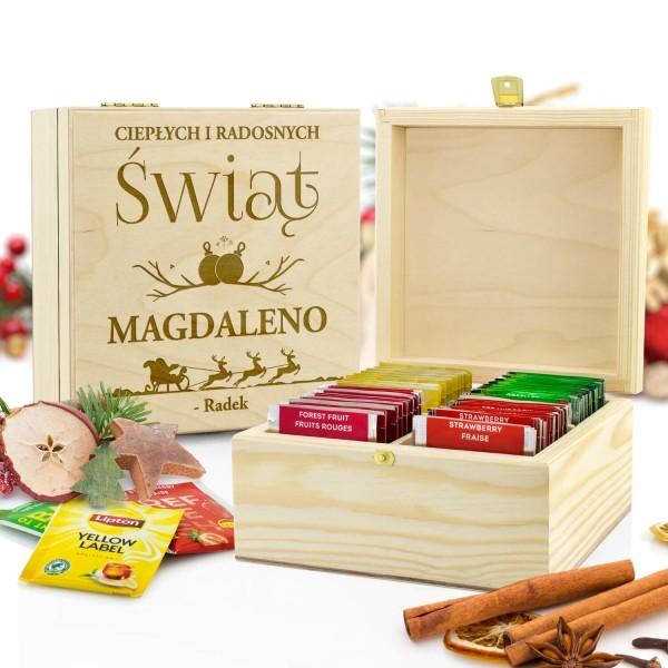 zestaw herbat w drewnianej skrzynce z grawerem dla niej
