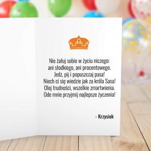 spersonalizowana kartka z życzeniami dla niego